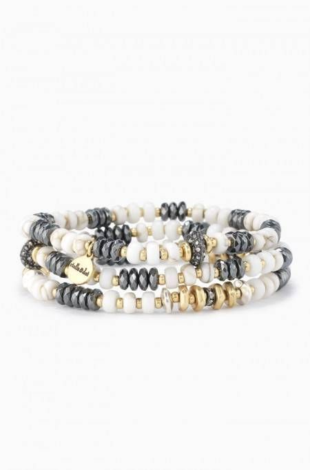 This white bead bracelet stretches to fit comfortably and creates an instant arm party. Shop beaded stretch bracelets at Stella & Dot.