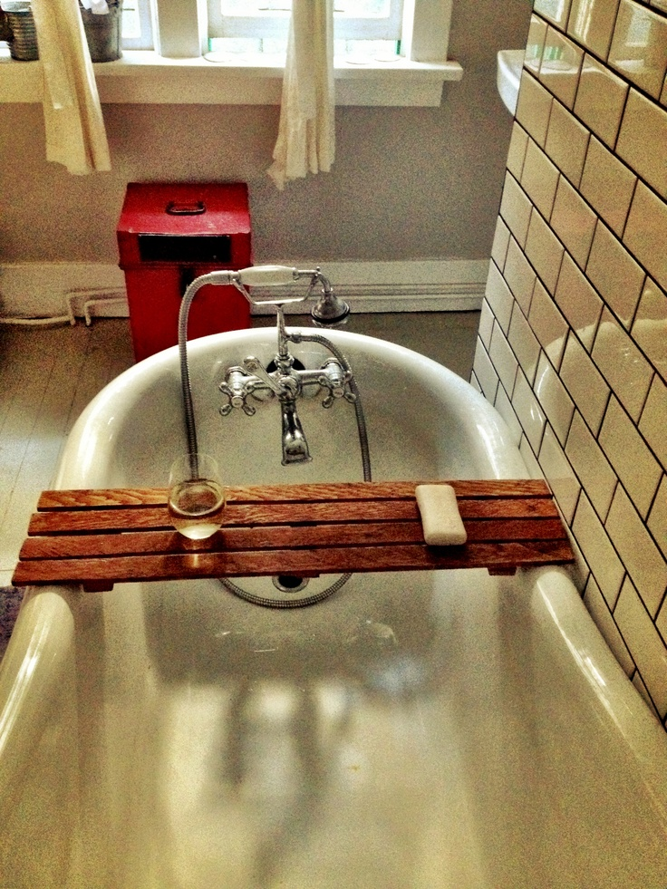 Handmade bath caddy made from 100 year old wood. By frank & mima