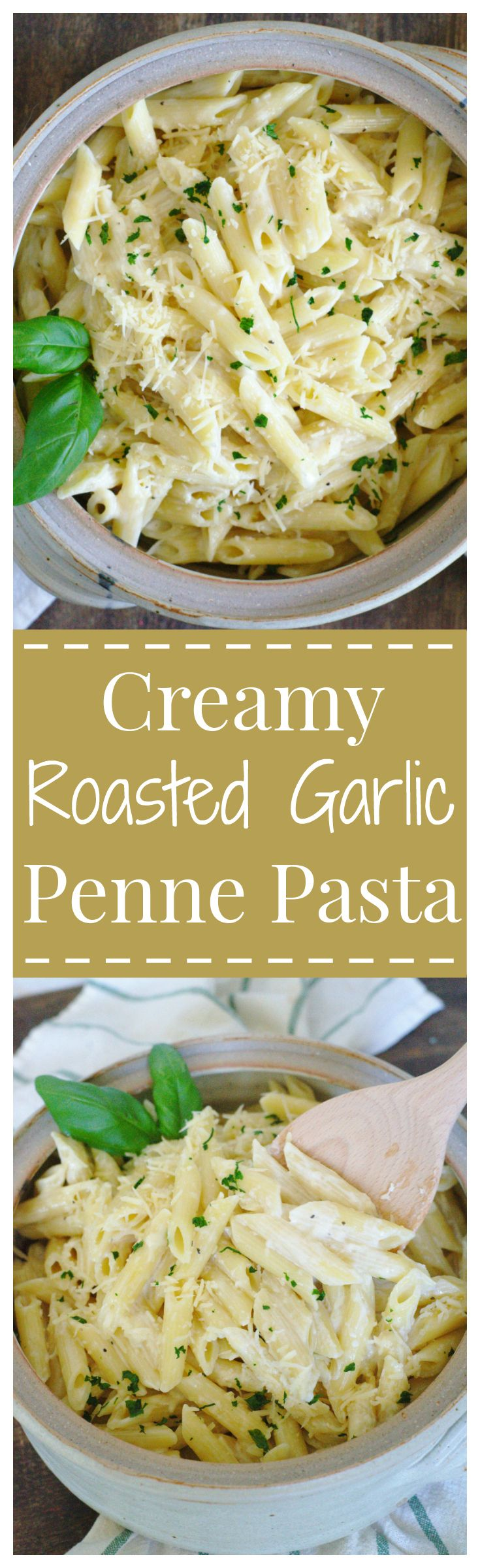 Creamy Roasted Garlic Penne Pasta – A quick and easy 30 minute meal packed full of flavor! A creamy roasted garlic sauce over penne pasta!