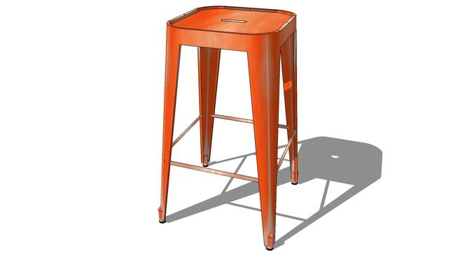 Tabouret de bar JIM orange, Maisons du monde. Réf: 146327 Prix: 69,99 € - 3D Warehouse