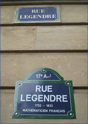 La rue Legendre et... la rue Legendre  (Paris 17ème)