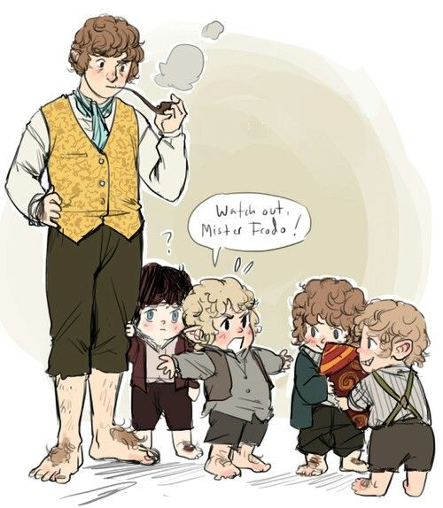 The Hobbit/ Lord of the Rings. Bilbo Baggins and little Frodo, Sam and Merry and Pippin! LD awwww