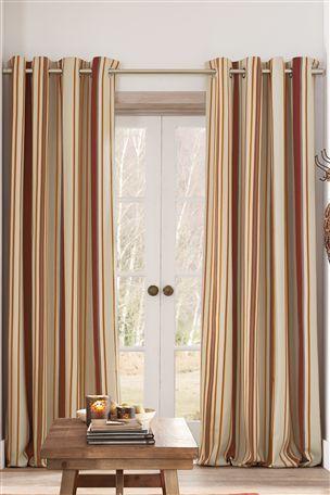 Buy Orange Woven Stripe Eyelet Curtains from the Next UK online shop