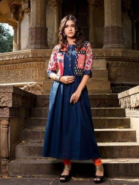 Blue Printed Psynatex Cotton Long Kurti Gown With Jackets Gown
