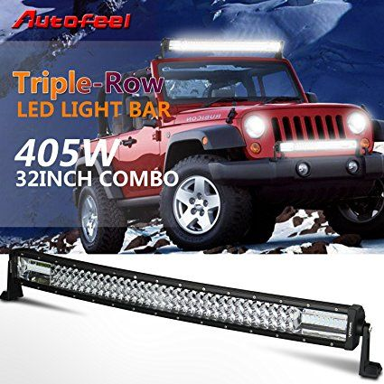Mejores 16 imgenes de top 10 best off road led light bars reviews autofeel 32 curved led light bar triple row 405w 40500lm cree 7d spot flood combo aloadofball Gallery