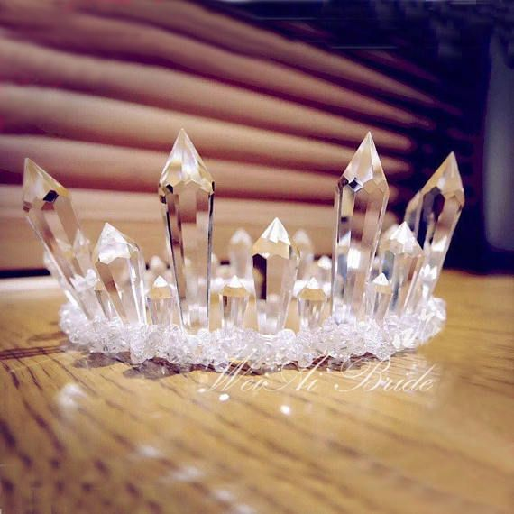Frosted Goddess Crown** Crystal Crown. Quartz Crown. Goddess Bride. Bride Crown. Coachella Crown. Music Festival crown. Crystal tiara.
