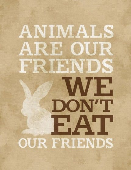 My dogs are my friends...I don't eat them.. so why should we eat other animals? (I'm a vegetarian)