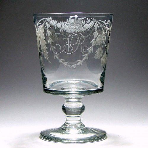Large Engraved Georgian Bucket Bowl Glass Rummer c1820