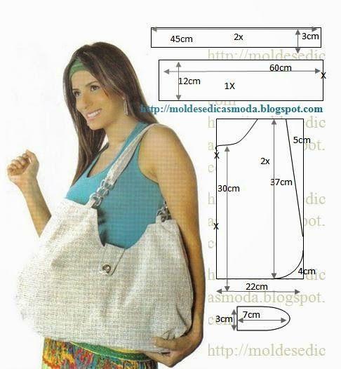 A lot of free patterns for purses, totes & bags. Moldes Moda por Medida: SACOS COM MEDIDAS
