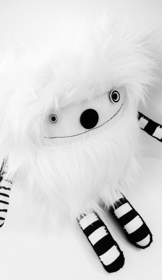 OoAK Black and White Faux Fur Kawaii Plush Art by polkadottydolls