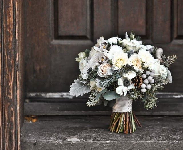 silver brunia & lambs ear bouquet... neutrals at their best.