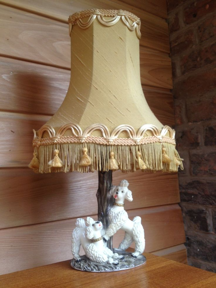 Oh So Very Kitsch Vintage Lamp Base Adorned With Two White Poodles, Playing  Around A
