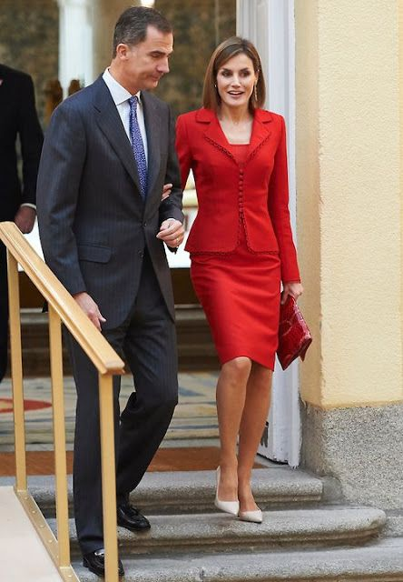 Queen Letizia of Spain and King Felipe VI of Spain attends the Cervantes Institute Annual Meeting at Royal Palace of El Pardo on October 19, 2015 in Madrid, Spain