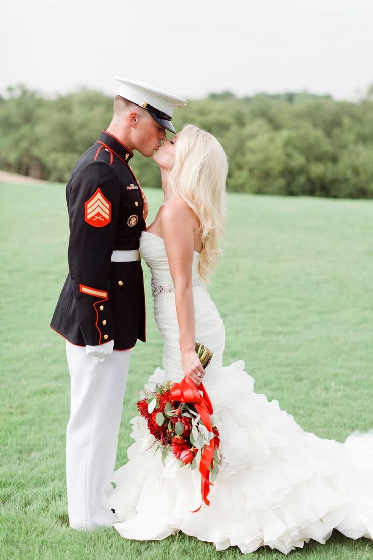 Patriotic Wedding And A Red Bouquet