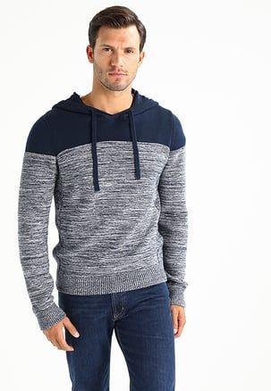 Jumper mottled dark blue | Mens fashion sweaters, Long