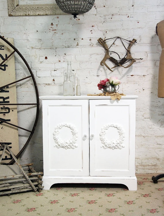 Painted Cottage Chic Shabby White Romantic TV by paintedcottages, $130.00: Cottage Chic, Painted Cottage, Cottages Chic, Cottages Vintage, Paintings Cottages