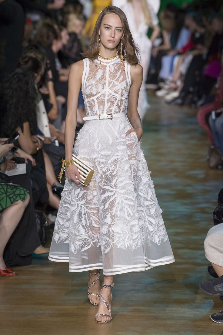 Elie Saab Spring 2018 RTW: I love this white a line dress with intricate leaf embroidery!