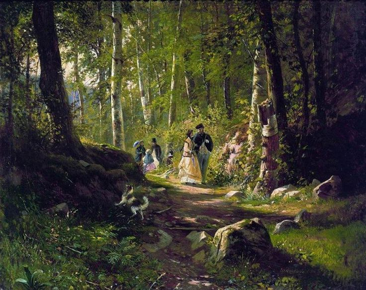A Walk in the Forest, 1869 by Ivan Shishkin. Realism. landscape. Tretyakov Gallery, Moscow, Russia