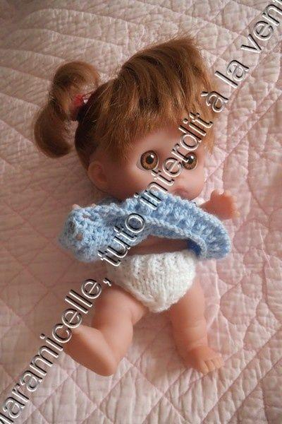 Zabou nous présente sa première petite culotte; va t elle arrêter de pleurer? tuto de la robe ici TUTO MATERIEL 11 g de laine à tricoter avec du 3,5 (22 mailles pour 10 cm) aig 3,5 POINTS EXPLICATIONS ICI mousse jersey côtes 11/1 surjet simple pointe...