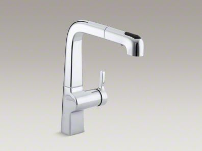 """Evoke single-hole kitchen sink faucet with 9"""" pull-out spout.  Elegant, minimalist style.  Rotates 360 degrees for full clearance and coverage.  I like the differentiating line weights here."""
