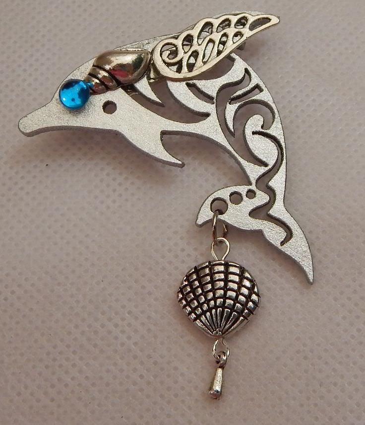 Dolphin Brooch or Scarf Pin Accessories, Jewelry Fashion Wood NEW Silver  #Handmade http://www.ebay.com/itm/Dolphin-Brooch-or-Scarf-Pin-Accessories-Jewelry-Fashion-Wood-NEW-Silver-/152395335532?ssPageName=STRK:MESE:IT