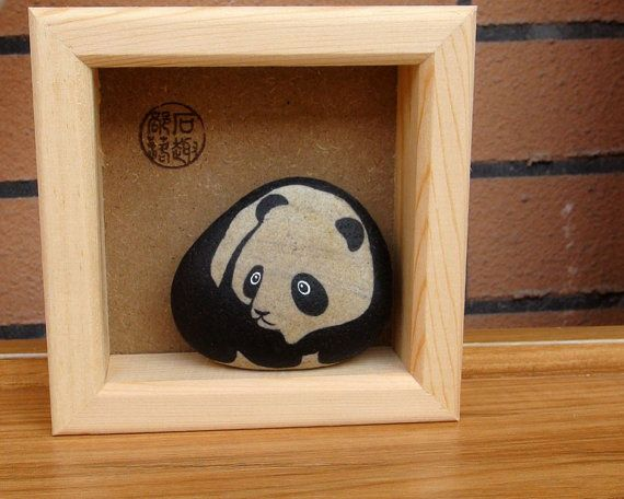 Panda Hand Painted Pebble Stone in a Frame by RockPaperScissors111, $29.99
