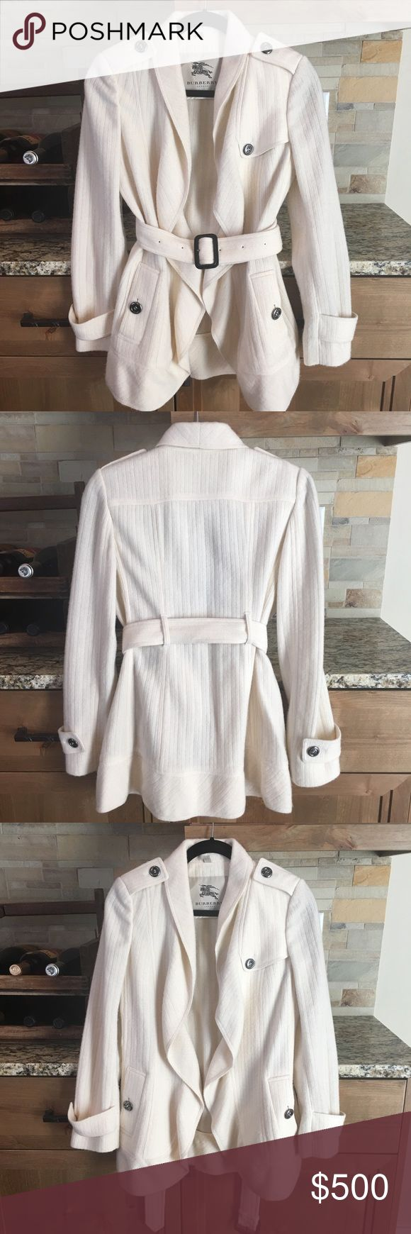"""Authentic Burberry Wool & Cashmere Knit Wrap Coat Burberry London Wool & Cashmere Knit Wrap Jacket in Cream.  Gorgeous coat in excellent condition.  Only worn 1 time. 85% Wool 15% Cashmere.  Belt around waist.  27.5"""" Length Size 4. NO Trades! Burberry Jackets & Coats"""