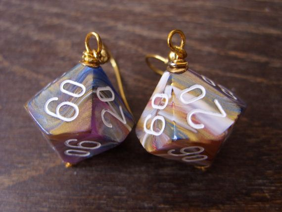 dungeons adn dragons D100 dice earrings dice jewelry by MageStudio, $20.00 #dice #D100 #earrings #geek #geekery #geeky