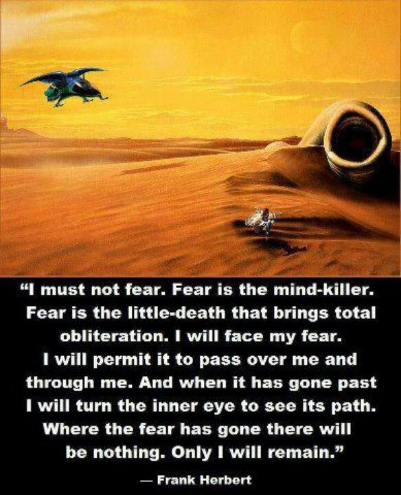 Dune - The Litany Against Fear...one of my all time favorite quotes!!