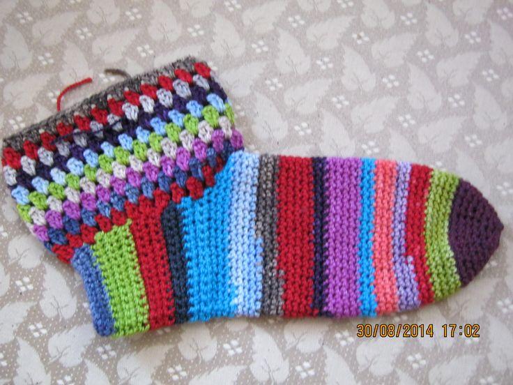 Sock made with Karoo Moon's sock yarn using my own pattern.