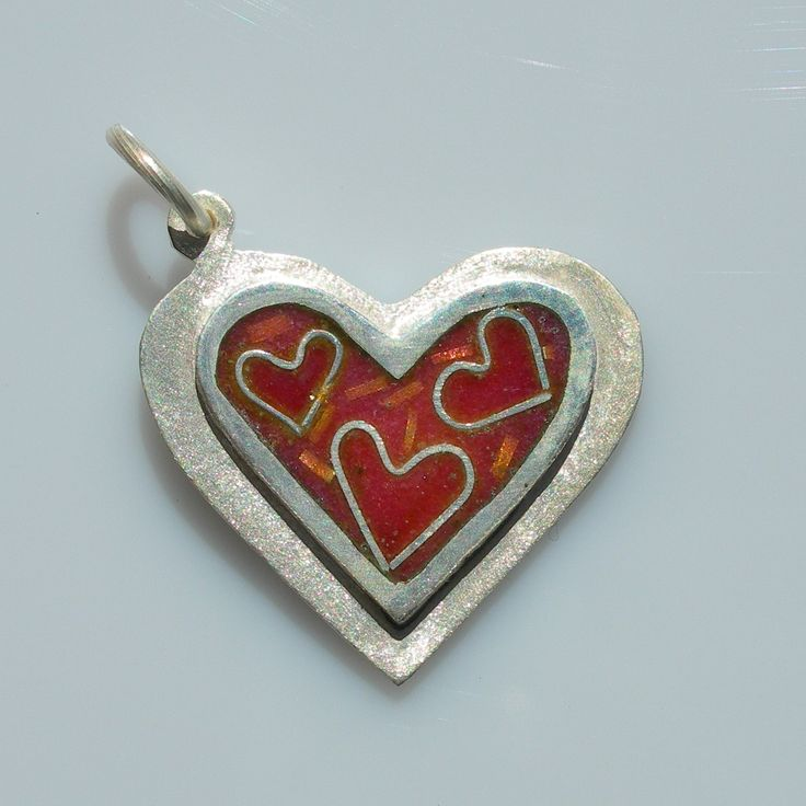 Heart of happiness pendant in sterling silver with cloisonné vitreous enamel by Sasha Leon Sculpture & Jewellery at www.slsj.co.za