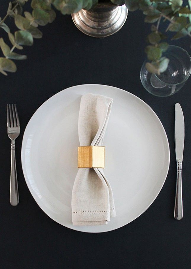 Brighten up your table with DIY gold napkin rings.