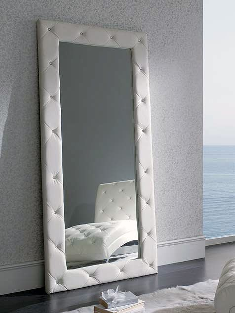 Espejo rectangular enmarcado con piel (294 – DE24) - Muebles CASANOVA
