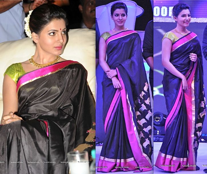 Aug, 13: Tollywood Channel Launch ~ Samantha Ruth Prabhu in a silk cow-print Raw Mango Saree. Flowers in her hair, bindi and a gold necklace finished out her look. Such a refreshing change! She looked lovely.
