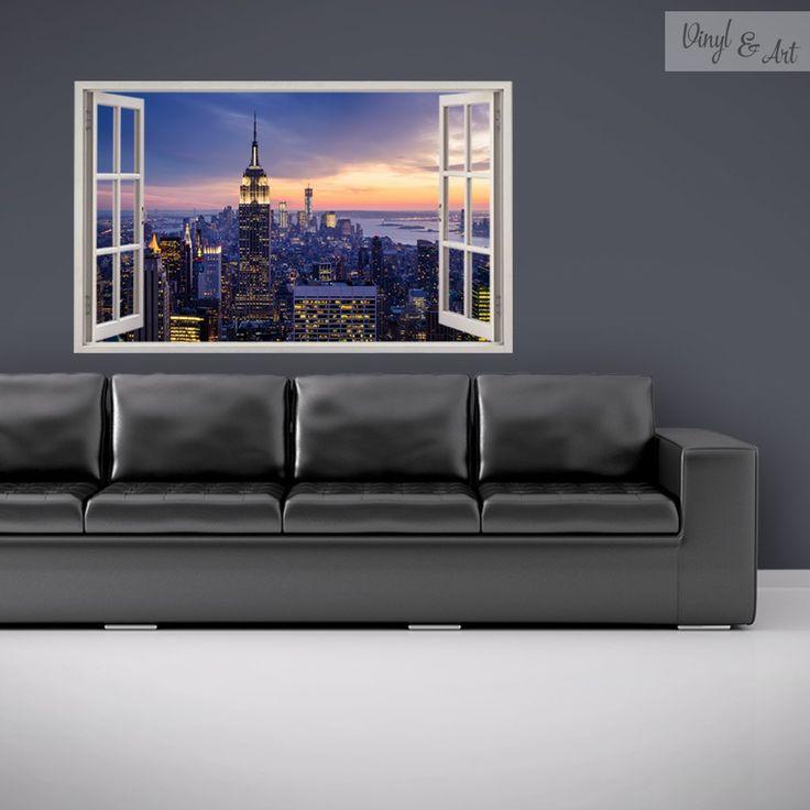Vinilo Adhesivo Decorativo Ventana - New York. Nueva York no solo toca el cielo con su emblemático horizonte, su inuencia se expande por todos los rincones del mundo. www.vinylandart.com #vinilosdecorativos #vinylandart #arte #diseño #inspiracion #ventanas