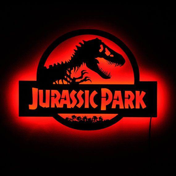 Jurassic Park Lamp Lighted Jurassic Park Logo Wall Sign