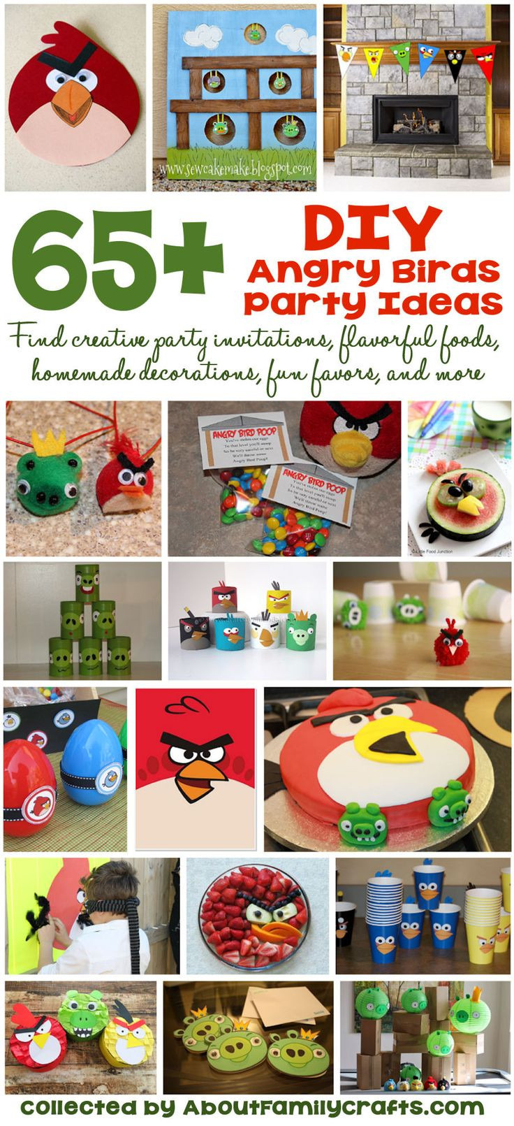 65+ DIY Angry Birds Party Ideas - If you are planning an Angry Bird themed birthday party, you will definitely want to consult this list of do-it-yourself party supplies! (http://aboutfamilycrafts.com/65-diy-angry-birds-party-ideas/)