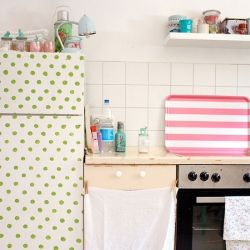 Painted, wallpapered, and otherwise decorated fridges are SO cute! Don't leave your fridge ugly and boring! (photo by Jasna Janekovic)