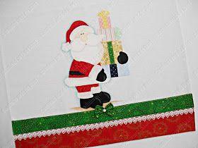Panos de prato de Natal 😍 Termocolante AvBond da Arte Têxtil Guipir e bordado inglês Círculo Pincéis Condor