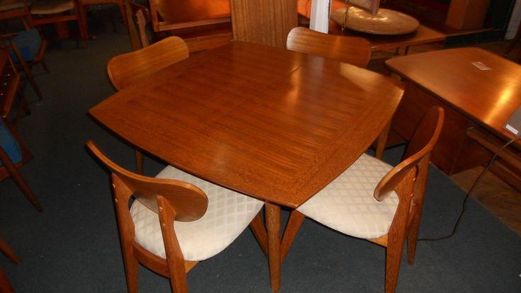 Brown Saltman Mid Century Danish Modern Dining Table Set   eBay