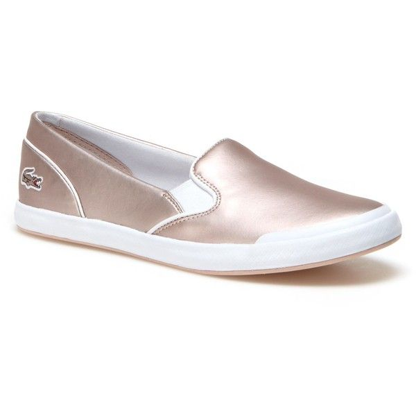 Lacoste Women's Lancelle Slip-on Leather Sneakers ($90) ❤ liked on Polyvore featuring shoes, sneakers, leather shoes, leather slip on sneakers, metallic sneakers, white trainers and lacoste shoes