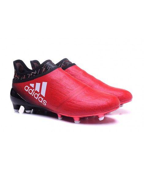 Adidas X 16 Purechaos FG-AG Tacchetti Per Terreni Duri Per Campi In Erba Artificiale Uomo Scarpe Da Calcio Rosso Nero Bianco