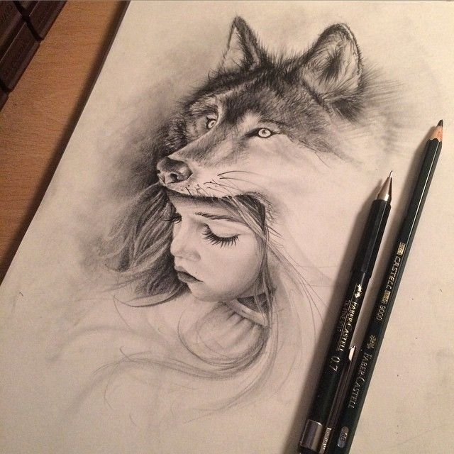 wolf girl drawing - Google Search