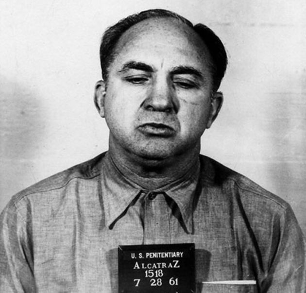 "Mickey Cohen at Alcatraz - photo accompanies ""Beyond 'Gangster Squad': The Real Mickey Cohen,"" by Tere Tereba for biography.com"