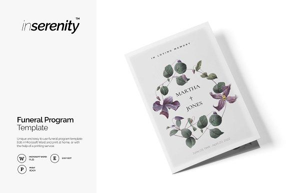 Funeral program by inserenity on @creativemarket