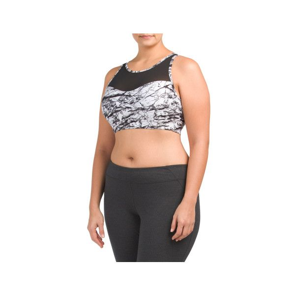 Plus Active Mesh Front Bra ($13) ❤ liked on Polyvore featuring plus size women's fashion, plus size clothing, plus size activewear, plus size sports bras and mesh sports bra