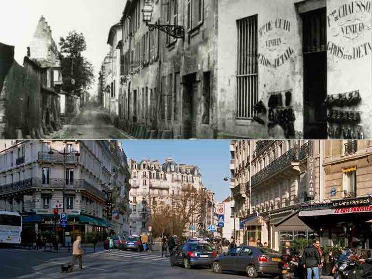 La rue Censier, avant et après. Cul-de-sac à l'origine, elle s'appelait la rue Sans-Chief (d'où, Sancié). Le quartier Saint-Marcel (aujourd'hui les Gobelins) était un lieu mal famé. La présence de la Bièvre favorisait les industries du cuir qui empuantissaient l'air. Balzac y cachait, dans la pension Vauquer, le forçat Vautrin, et le père Goriot y finit ses  jours, après avoir donné sa fortune à ses filles.