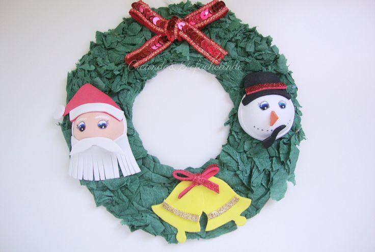 Corona de Navidad con Goma eva y Papel crespón