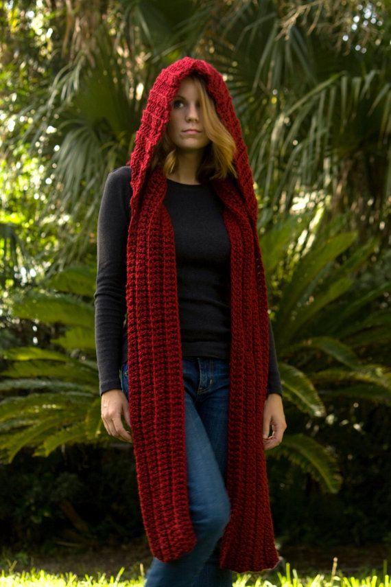 Knit Scoodie Pattern : CROCHET PATTERN Hooded Scarf Pattern, Crochet Scoodie Instant Download Love...