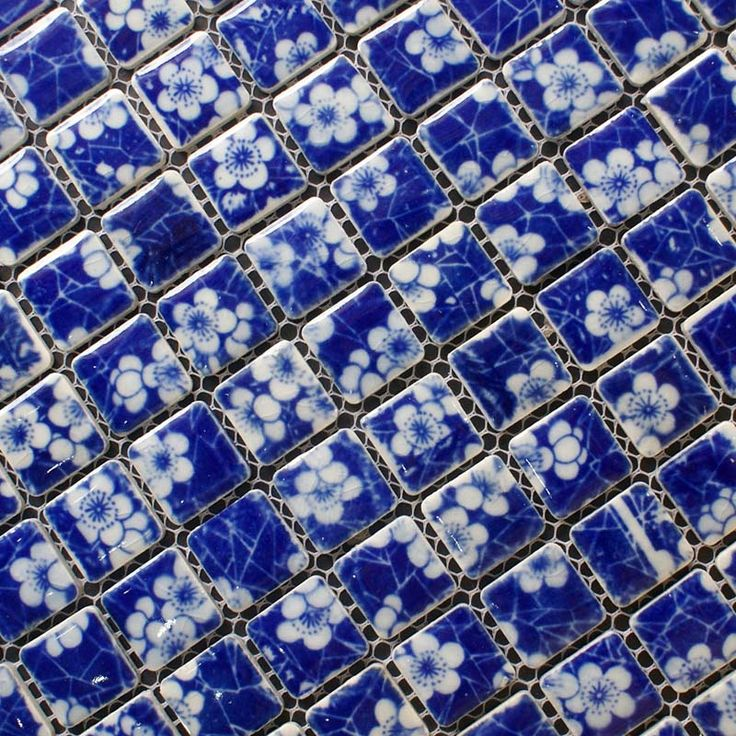 porcelain tile square white and blue mosaic design snowflake style kitchen backsplash wall tiles size 1 inch collection porcelain mosaic tiles - Mosaic Tiles